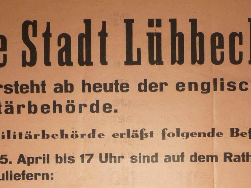 Bekanntmachung 04-04-1945 über Unterstellung unter englische Militärbehörde_Ausschnitt (Bildnachweis: Stadtarchiv Lübbecke)