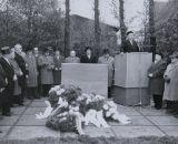 Einweihung des Gedenksteins auf dem Platz der ehem. Synagoge, 12.11.1961 (Stadtarchiv Lübbecke)